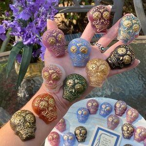 SET OF 2 Magnets Sugar Skull Colorful Resin Art